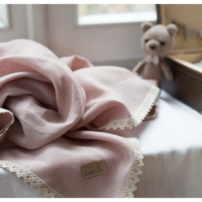 Lily lenvászon takaró horgolt szegéllyel - púder