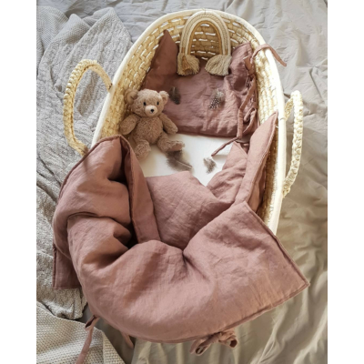 Len babaágyneműszett megkötővel - burgundi
