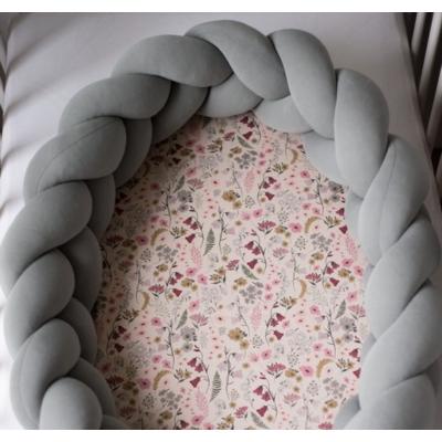 Fonott 2in1 babafészek és rácsvédő - Retro flowers - szürke